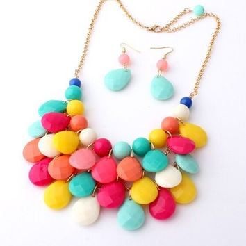 Beach Summer Style Water-drop Shaped Multi-layer Statement Choker Necklace&earrings Set for Women Jewelry Accessories X003