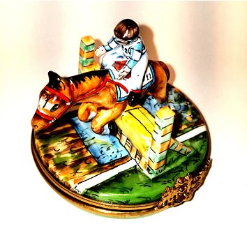 Race Horse Jockey on Track Racing Limoges Box Numbered 1 of 500 First One Painted - Retired Rare Limoges Box