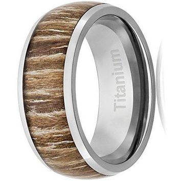 CERTIFIED 8MM Titanium Ring Wedding Band Domed Top Wood Inlay