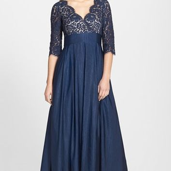Women's Eliza J Lace & Faille A-Line Gown,
