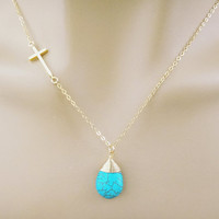 Cross turquoise necklace, goldfilled cross turquoise necklace, goldfilled necklace, gold necklace, cross necklace, turquoise stone necklace