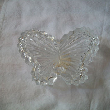 Vintage Crystal Butterfly Trinket Box Lidded Dish Taiwan