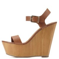 Brown Single Strap Wooden Platform Wedges by Charlotte Russe