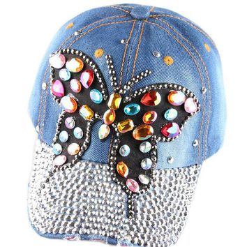 DCCKHY9 Full  Crystal Rhinestone Colorful Butterfly  Snapback Caps Diamante Denim Sun Baseball Cap women's hats 2 color