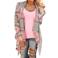 Fashion Geometric Print Long Sleeve Cardigan Jacket Coat