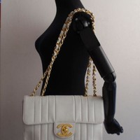 authentic chanel white caviar mademoisell jumbo bag