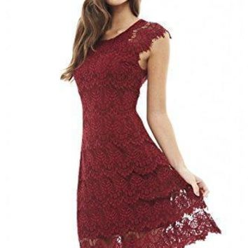 AX Paris Women's Capped Sleeve Crocheted Lace Dress