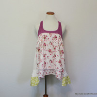 Tank Top Women's Junior's Upcycled Romantic Clothing / Unique Babydoll Shabby Country Top / Boho Chic Shirt