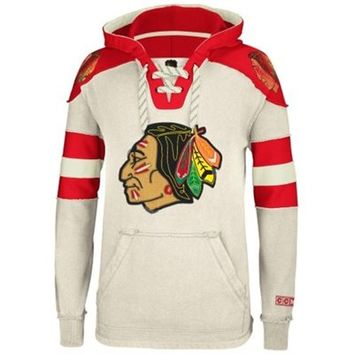 Mens Chicago Blackhawks Reebok Cream Pullover Hoodie