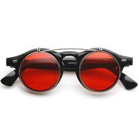 Retro Steampunk Round Circle Flip Up Color Tinted Sunglasses 8850