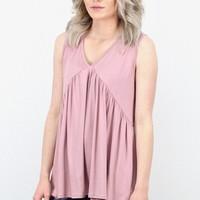 Basic + Cute Babydoll Modal Tank {Rose}