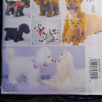 SALE Uncut McCall's Sewing Pattern, 6620! Stuffed Animals/Stuffed Toy Dogs/Replicate your Pet/Kids/Children's Stuffed Toys/Small & Large Toy