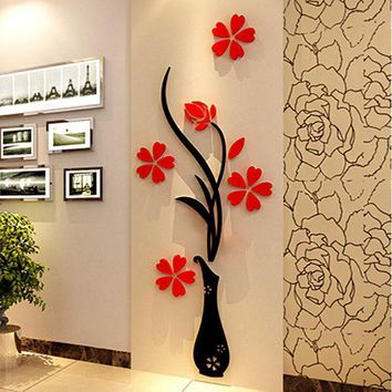 Vase 3d Acrylic Crystal Three Dimensional Wall Stickers Tv Background Wall Entranceway Hallway Home Decoration