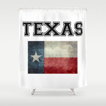 Texas flag and Text - original design by BruceStanfieldArtist Shower Curtain by LonestarDesigns2020 - Flags Designs +