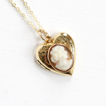 Vintage 10k Gold Filled Cameo Heart Locket Necklace- 1940s WWII Era Sweetheart Flower Etched Carved Shell Jewelry