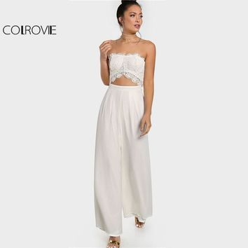 26e7cf3a4162 COLROVIE White Crochet Cut Out Strapless Jumpsuit Women Sleevele