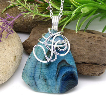 Blue Agate Stone Necklace, Dragons Vein Agate Pendant, Wire Wrapped Blue Stone, Sterling Silver Polished Stone Jewelry