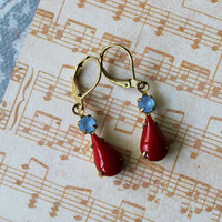 Betsy ~ Vintage Japanese Red Glass Earrings - Sapphire Rhinestone - Raw Brass - Maddie Jean Vintage