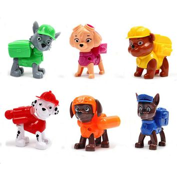 6PCS/set PAW Patrol Dog Zuma/Chase/Ryder/Skye Dog Toys Juguetes Canine Puppy Pet Puppy American Movie Figure Kids Toys D8