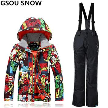 GSOU SNOW Winter Ski Suit For Boys Girls Waterproof Windproof Kids Snowboarding Suits Super Warm Outdoor Skiing And Snowboarding