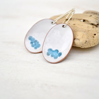 White enamel earrings - white and blue earrings - artisan jewelry -  sterling silver earwire - OOAK dangle handmade oval earrings by Alery