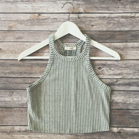 Piper Grey Ribbed Crop Tank