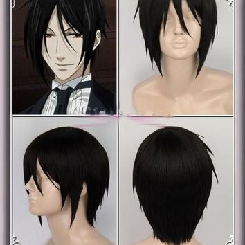 High Quality Anime Kuroshitsuji Black Butler Sebastian Michaelis Short Black Heat Resistent Cosplay Wig