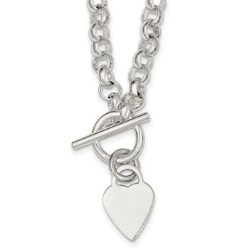 Sterling Silver Engraveable Heart Disc on Fancy Link Toggle Necklace QG1150