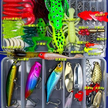 JSFUN 147 Pcs Fishing Lure Kit All Water Soft Lure Frog lure Fishing Tackles Accessories Gear Spoon bait fishing FU261