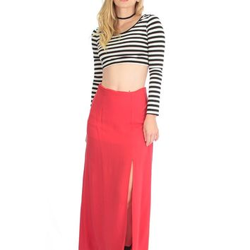 Lyss Loo Seaside Red Maxi Skirt With Side Slit