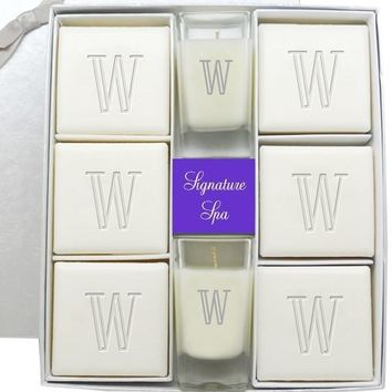 Personalized Signature Spa Ultimate Gift  Set - Verbena Soap and Votive Candle Set