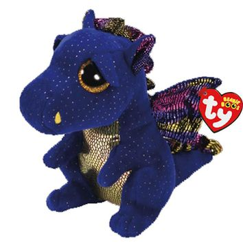 "Ty Beanie Boos Plush Animal Doll Saffire Blue Dragon Soft Stuffed Toys With Tag 6"" 15cm"