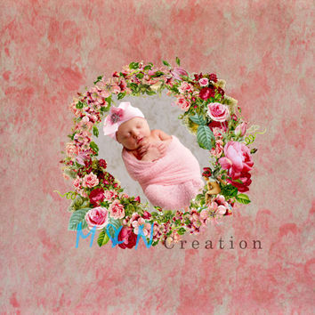 Instant Download. Beautiful Digital Newborn flowers Backdrop. Photography baby girl Prop Digital Background, Commercial Use.
