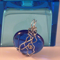 "PACIFIC BLUE - Sapphire Blue Fractured Glass Wire Wrapped Natural Silver Aluminum Pendant. 1 1/4"" w x 1 1/2"" including bail-30mm x 40mm"