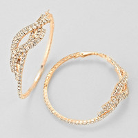 Clear Rose Gold Fashion Twist Rhinestone Earrings