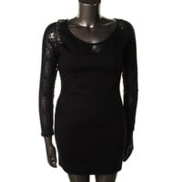 David Bitton Womens Lace Trim Long Sleeves Cocktail Dress