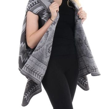 Gray Aztec Pattern Shawl Vest