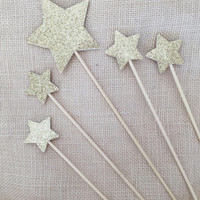 Gold Glitter Star Cake Topper Set (5),Twinkle Twinkle Little Star,Birthday,Baby Shower,Wedding,Star Topper,Party Decor,Gold Glitter Star