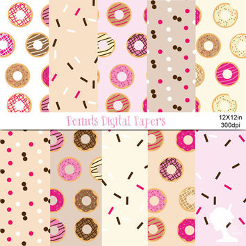 Digital Papers: INSTANT DOWNLOAD Iced Donuts in Pink, Brown, White and Cream for Scrapbooking, Card Making and Invitations