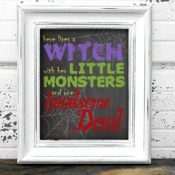 """Printable Halloween """"Here Lives a Witch"""" Chalkboard Wall Art / Room Decor / Wall Hanging - 8"""" x 10"""" Picture - PDF & JPEG (JPG)"""