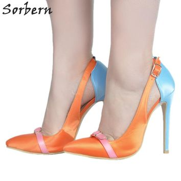 Sorbern Women Pumps Satin Ladies Party Shoes Women Pumps High Heel Buckle Strap Plus Size Womens Shoes Large Sizes Pointed Toe