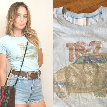 Paper Thin Soft 70s Classic Car Baby Tee XS | 1975 Triumph 80s Faded Light Blue Trashed TR-7 Tshirt | Hipster Retro Womens Small Graphic Tee