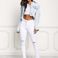 White Knee Slit High Rise Skinny Jeans