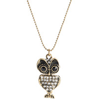 Aeropostale Womens Pave Owl Short-Strand Necklace - Yellow, One