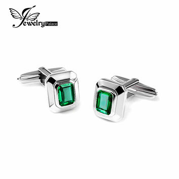 JewelryPalace 4ct Created Emerald Cufflinks 925 Sterling Sliver Luxury Brand Vintage Jewelry For Men