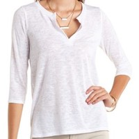 Three-Quarter Sleeve V-Neck Top by Charlotte Russe