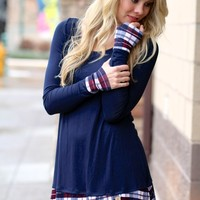 Feeling Plaid Navy Tunic Dress With Buttons