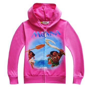 Moana jacket Movie Moana Hoodies Girls kids Clothing Sweater Long Sleeve Outwear Baby Clothes Halloween Christmas Costume ZX125