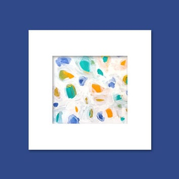 "Abstract Acrylic Painting Original Fine Art 7.5"" x 7.5"" by Linnea Heide - colorful fun whimsical - rainbow"