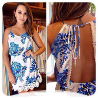 Spaghetti Strap Cutout Back  Floral Print Lace Embroidered Mini Dress